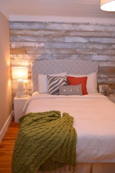 Distressed Wood Wall...for behind bed in master...maybe not so whitewashed?