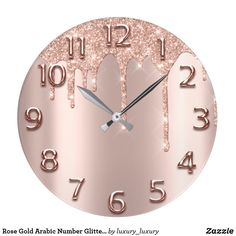 Shop Rose Gold Arabic Number Glitter Drip Blush Glitter Large Clock created by luxury_luxury. Room Decor Bedroom Rose Gold, Beach Room Decor, Rose Gold Rooms, Rose Gold Decor, Cute Room Decor, Room Ideas Bedroom, Teen Room Decor, Cute Bedroom Ideas, Decorations For Room