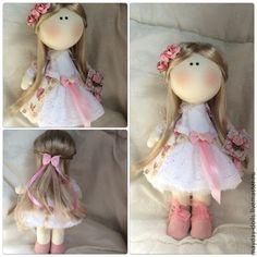 Купить Интерьерная текстильная кукла большеножка Златочка - разноцветный, большеножка, тыквоголовка, тильда ♡