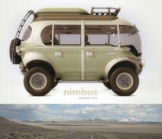 Nimbus é o cúmulo! Carro meio 'kombi steampunk' super moderno que certamente foi inspirado no veículo da família Robinson.