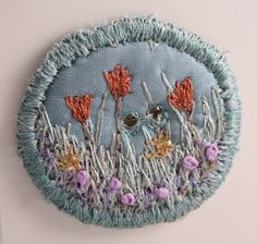 Round Button fabric covered button spring tulip floral flower garden aqua silk embroidered.