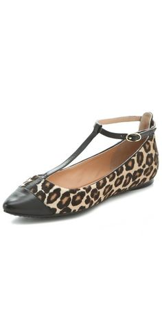 leopard pointy-toe, t-strap flats by Sigerson Morrison