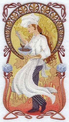 NOUVEAU CHEF Stirring - Machine Embroidered Quilt Block (AZEB). $57.50, via Etsy.