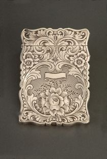 Silver calling-card case belonging to First Lady Letitia Tyler, c. 1841