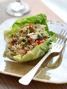 "Idea- canned salmon, goat/Greek yogurt/ quinoa ""chicken"" salad lettuce wraps"