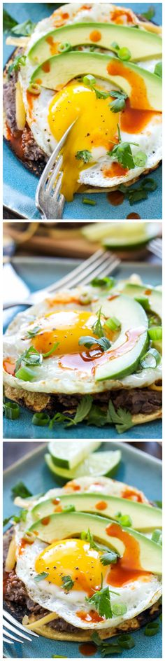 Crisp corn tortillas topped with Southwest spiced black beans, a fried egg, avocado, hot sauce, and cilantro make a delicious Tex-Mex inspired breakfast!
