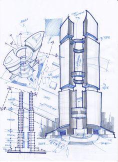 Architecture Blueprints, Concept Models Architecture, Conceptual Architecture, Colour Architecture, Architecture Drawings, Futuristic Architecture, Tower Design, Pop Design, Architect Sketchbook