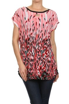 Feather print, scoop neck, semi sheer tunic with bow charm.