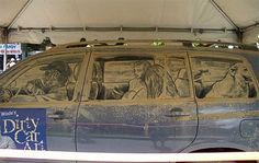 Desenho no carro sujo - família