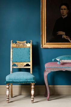 A wall of Aubusson Wall Paint with a gilded vintage chair upholstered in Provence & Aubusson Coloured Linen