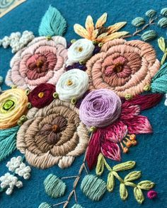 My last close-up of this sweet bouquet before I show her off in all her hooped glory tomorrow  . . . #hemakesbeautifulthings #halelujah #handembroidery #bordado #broderie #modernembroidery #nakış #fiberart #stitch #stitchersofinstagram #handmadelove #floral #floraldesign #design #flowerpower #colorlove #wallart #walldecor #bouquet #foreverflowers #marablelake