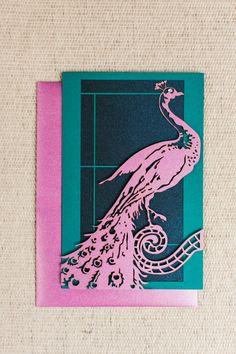 Laser Cut Peacock Wedding Invitation by ElegantLaserDesigns