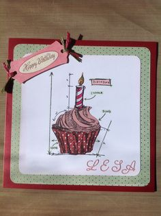 "Card made using tim holtz cupcake dies and stamp set. Used kaisercraft paper behind the image, mounted onto a 7"" x 7"" ruby coloured pearl card."