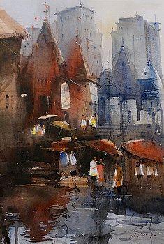 Varanasi watercolor temple by Nitin Singh Watercolor Paintings For Sale, Indian Art Paintings, Watercolor Artwork, Watercolor Architecture, Watercolor Landscape, City Drawing, Varanasi, Art World, Art Gallery