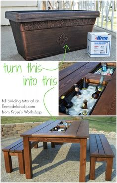 Turn a basic planter box into a drink cooler, built in to a patio table! Full building tutorial included for the table plus matching benches. @Remodelaholic