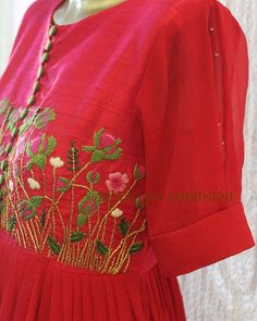 Let the flowers and buds tell the story of silhouettes,Here goes our small bunch of garden,to make you look awesome. New line of long dress… Embroidery Suits Punjabi, Embroidery On Kurtis, Embroidery Fashion, Embroidery Dress, Embroidery Stitches, Kurti Neck Designs, Salwar Designs, Blouse Designs, Hand Embroidery Design Patterns