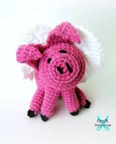 """Lil Flying Pig Amigurumi This Lil Flying Pig Amigurumi crochet pattern will give you the power to end all bets where anyone has told you, """"When Pigs Fly!"""" Well, maybe it won't, bu… Crochet Pig, Crochet Gifts, Crochet Animals, Crochet Dolls, Easy Crochet, Free Crochet, Pig Crafts, Yarn Crafts, Crochet Phone Cases"""