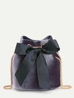 Bow Tie Decorated Velvet Bucket Bag | ROMWE