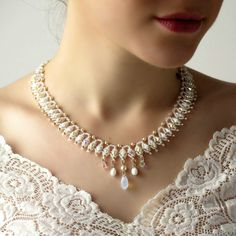 Crystal bridal necklace Crystal statement by LioraBJewelry on Etsy