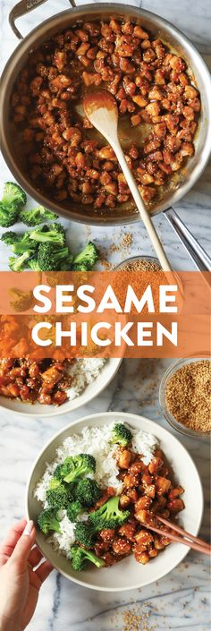 Sesame Chicken Bowls - Damn Delicious for dinner for two main dishes Damn Delicious Recipes, Healthy Recipes, Healthy Foods, Easy Recipes, Healthy Dinners, Free Recipes, Yummy Food, Kitchen Recipes, Cooking Recipes