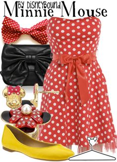 One of my fav fashion blogs my friend had shown me months ago.... http://disneybound.tumblr.com/... this outfit is MINI MOUSE inspired....I want to wear it for my neice's Mini Mouse theme party...