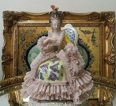 Antique-German-Porcelain-lace-Dresden-Figurine-lady-sitting-on-chair-GORGEOUS