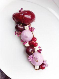 chocolate pate, cherry meringues, black current sorbet, cardamom creme and fresh berries