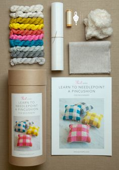 Learn to Needlepoint a Pincushion Kit from Purl Soho: These tidy little gingham pincushions are just about the happiest needlepoint project we can imagine! Our Learn to Needlepoint a Pincushion Kit for Beginners walks you through every step of bringing these cuties to life, from winding a skein into a ball to stitching a basketweave pattern to plumping up your finished pincushions!
