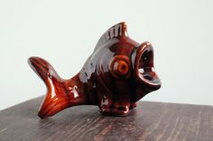 Vintage Ceramic FISH, Soviet Pottery Figurine, Estonian Brown Pottery, Handmade, Pottery Statue