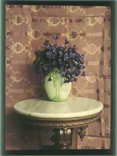 Autochrome of a vase of flowers (violets?) by Peter Vedenisov, taken between 1909-1914.