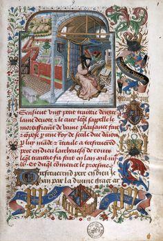 Koninklijke Bibliotheek van België, Brussel - Jan De Tavernier - Koning René van Anjou aan het werk in zijn scriptorium