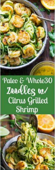 Citrus Grilled Shrimp and Zoodles {Paleo, Whole30} Course Lunch/Dinner Cuisine Paleo, Whole30 Prep Time 1 hour Cook Time 10 minutes Total Ti...