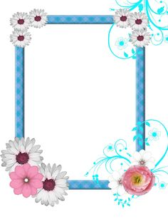 PNG Frame with flowers on a transparent background 1200 x 1376.