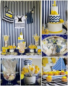 Anchors Away! A Sweet Baby Girl, is on her way! Candy Bar. Nautical baby girl shower! Yellow, Navy blue and white.