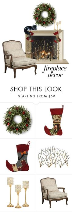 """""""Fireplace"""" by patricia-dimmick ❤ liked on Polyvore featuring interior, interiors, interior design, home, home decor, interior decorating, Godinger, Kensington Hill and fireplace"""