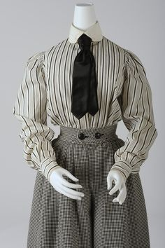 * Bicycle  costume, around 1900 (divided skirt is a replica) For the first time, women dared to show their legs in public. Not necessarily  for sportive reasons, but more a symbolic step towards equal rights. Public reaction was in turmoil and women in trousers were in danger of being attacked. .