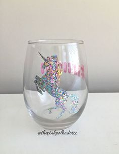 SALE Unicorn Unicorn Wine Glass UnicornLife by ThePinkPolkaDotCC