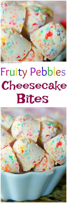 (No Bake) - - Fruity Pebbles Cheesecake Bites! (No Bake) cookies Fruity Pebbles Cheesecake Bites! (No Bake) Fruity Pebble Cheesecake, Cheesecake Bites, Cheesecake Recipes, Dessert Recipes, Homemade Cheesecake, Raspberry Cheesecake, Mini Desserts, Just Desserts, Delicious Desserts