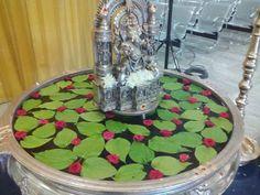 Urli filled with Betelnut Leaves Housewarming Decorations, Diwali Decorations, Festival Decorations, Flower Decorations, Wedding Decorations, Decor Wedding, Gauri Decoration, Marriage Decoration, Mandir Decoration