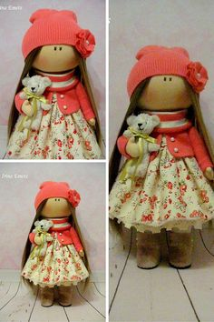 Textile doll Handmade doll Fabric doll red by AnnKirillartPlace