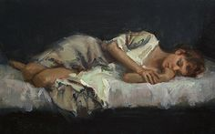 """Dreaming by Johanna Harmon Oil on Linen ~ 10"""" High x 16"""" Wide"""