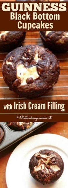 Guinness Chocolate Cake swirled with Irish cream cheese filling. A St. Patrick's twist on a classic recipe | #guinness #chocolate #cupcake #cake #irish #cream #cheese #saintpatricksday #stpatricksday