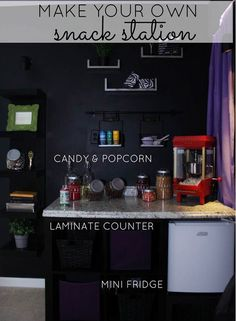 No movie theater would be complete without popcorn and candy. Here's how to create your own DIY concession stand at home, complete with a po...