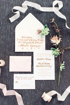 Ivory, blush and gold wedding invitation suite