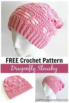 Free Crochet Pattern: Dragonfly Slouchy Hat | Pattern Paradise