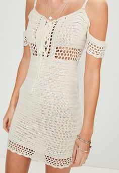 Petite Cream Supported Bardot Crochet Dress - Missguided