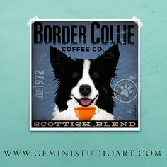 Border Collie Coffee Company Company illustration graphic artwork giclee signed print by stephen fowler