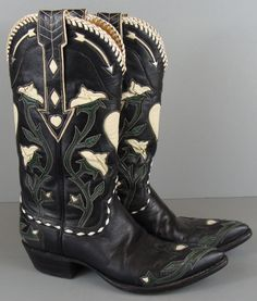 Vintage STALLION BOOT CO For BILLY MARTIN'S Pinched Rose Inlay Cowboy Boots 6M #StallionBootCo #CowboyWestern