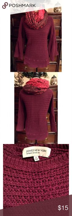 Jones New York Loose Knit Sweater size 1x Jones NY Burgandy loose knit thick sweater with a boat neckline, flare sleeves and elastic band. Size 1x and this sweater has been washed and worn a few times but still in great shape. Jones New York Sweaters Crew & Scoop Necks