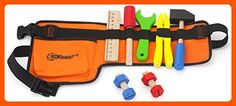Top Race 10 Piece Tool Belt, Thick Fabric Tool Belt with Solid Wooden Tools, Construction Role Play Set Toys For Little Kids, Kids Toys, Dress Up Costumes, Boy Costumes, Toddler Boys, Baby Kids, Construction Party, Tool Belt, Role Play